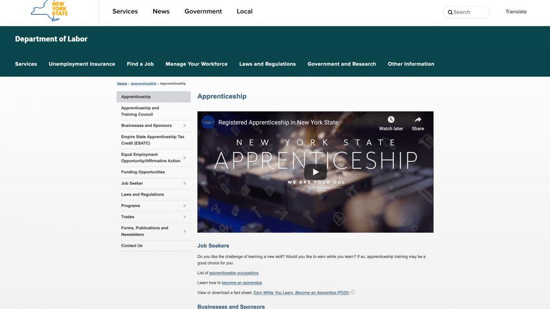 NYS DOL Apprenticeships